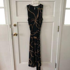 Lauren Ralph Lauren Black and Chain Tie Maxi Dress